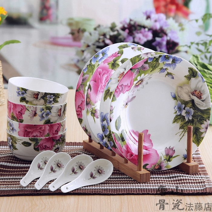 12-piece set, floral blossom designed, bone china dish set, refined ceramic white dinnerware, porcelain dinnerware set