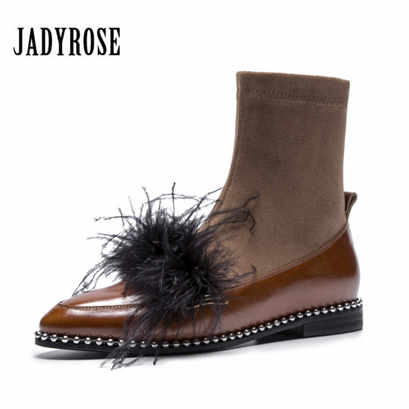 Jady Rose 2018 New Fashion Feather Decor Women Ankle Boots Luxury Pointed Toe Flat Sock Boots Female Gladiator Elastic Boot jady rose fashion stretch fabric ankle boots for women chunky high heel sock boot elastic pointed toe female back zip high boots