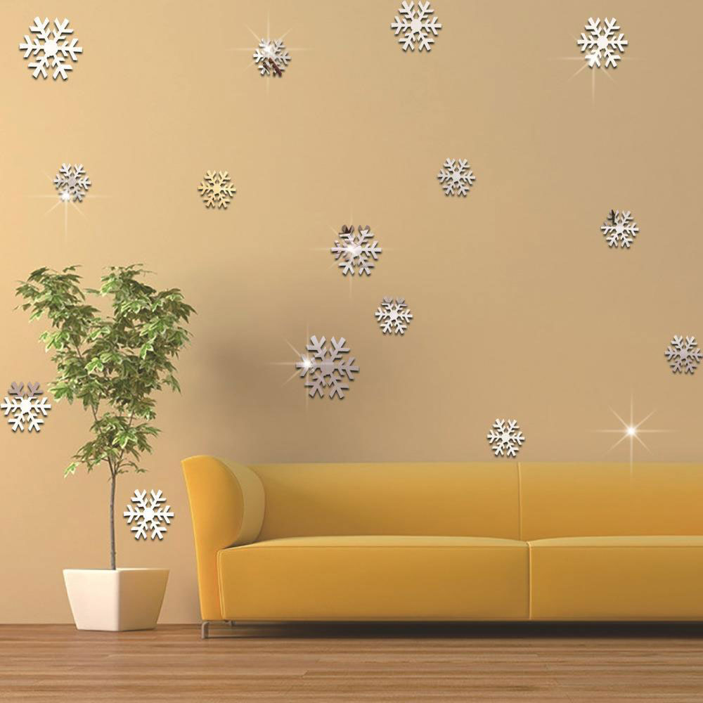 New Homes Decorative Acrylic Mirrored Decorative Snowflake Sticker ...