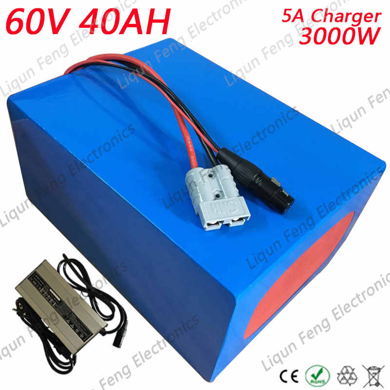 Free Customs No tax E-Bike Power Battery 60V 40AH 3000W Lithium Scooter Battery With 5A Charger Electric Bicycle Battery 60V40AH