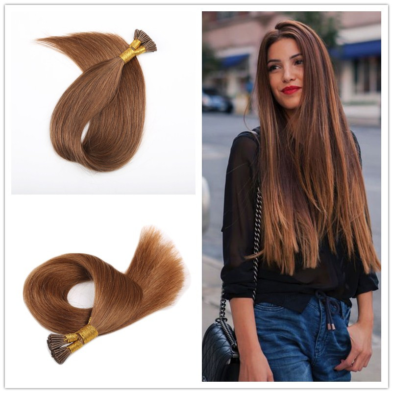 0.5g/s 182022 Keratin Hair Extensions ON Capsules Brazilian Virgin Hair Human Hair Extensions Stick I tip Hair Extension