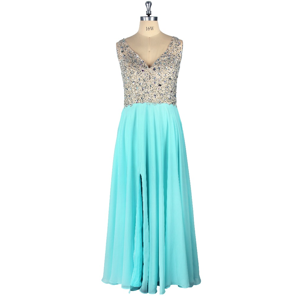 2019 Sexy Blue Natural Waist Sleeveless V-Neck Beading Front Slit A-Line Floor-Length Chiffon   Prom     Dress