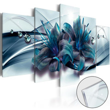 5 Pieces Canvas Wall ArtWater Drop Blue Lily Flower Abstract Exquisite Background Home Decoratives Paintings Framed PJMT- (31)