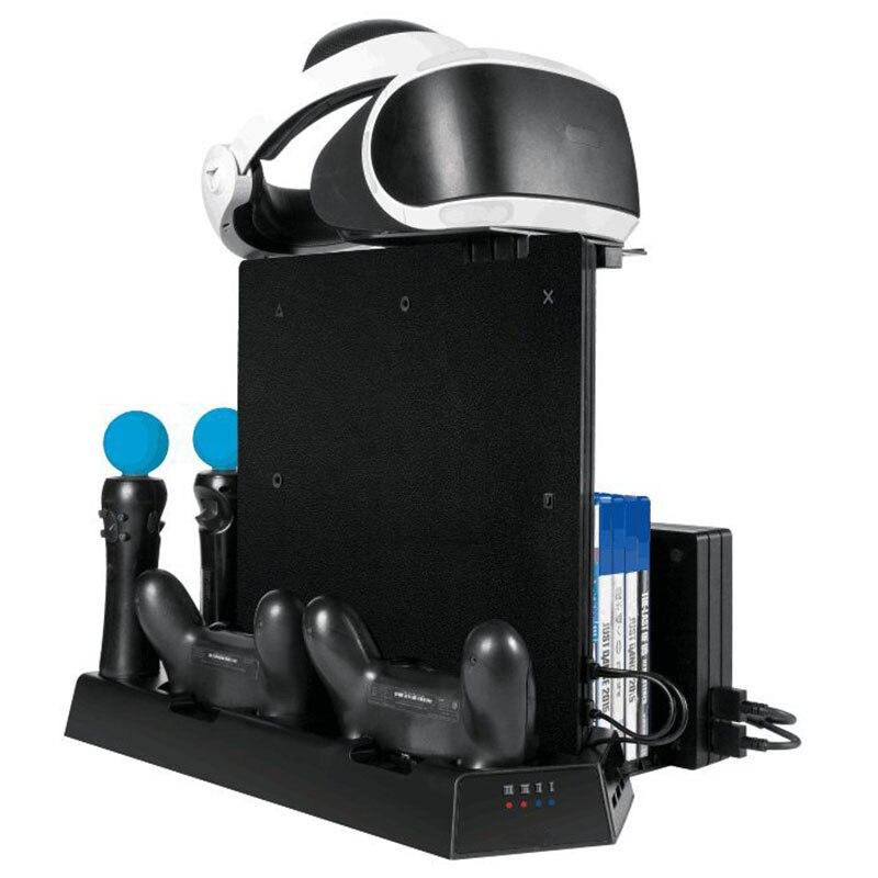 Station de charge verticale de support de refroidissement de haute qualité pour le contrôleur PS4 SLIM PRO VR noir offre spéciale