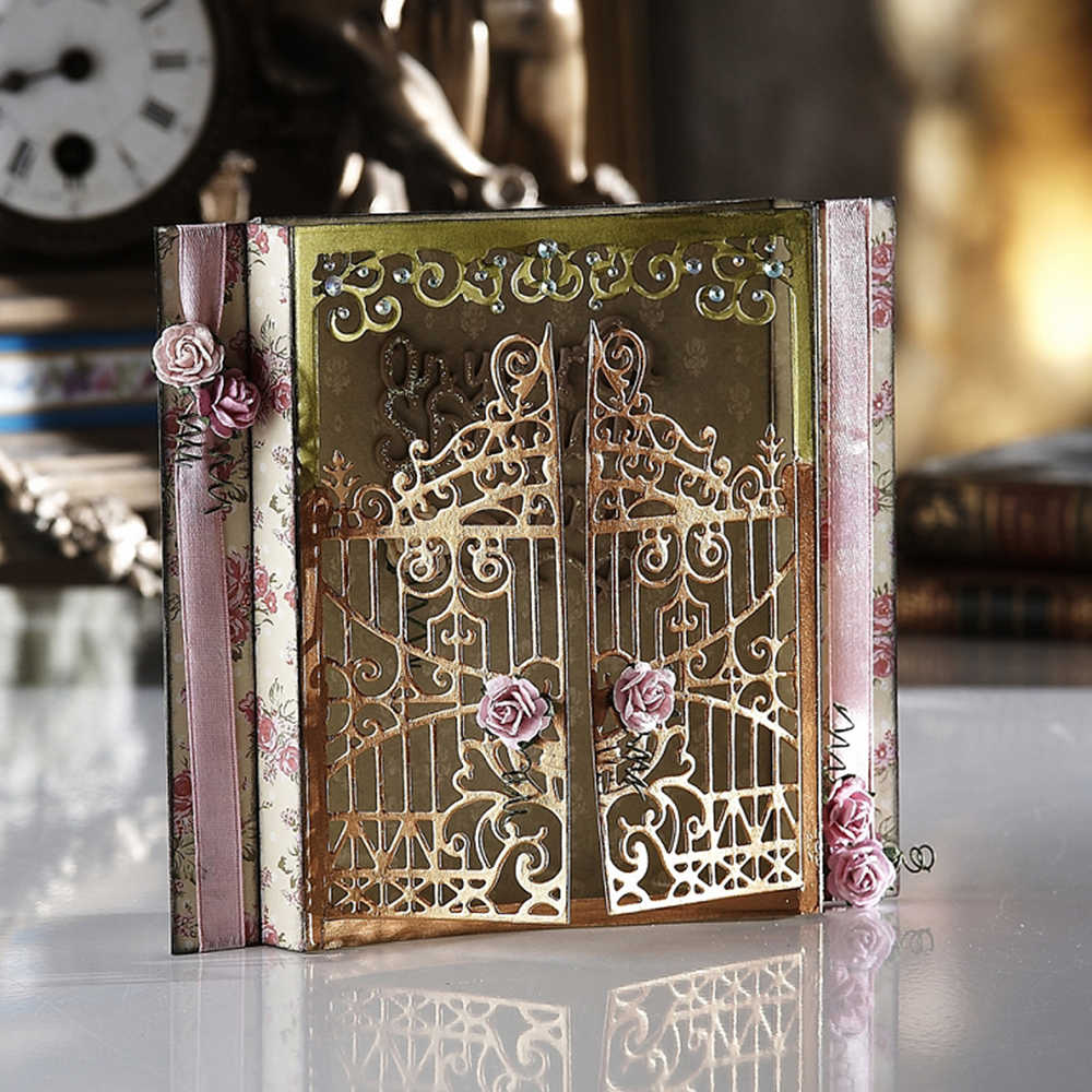 Swovo Lace Fence Door Frame Stencils Metal Steel Cutting Dies DIY Scrapbookind Craft Dies Stencil Photo Card Embossing dies 2019