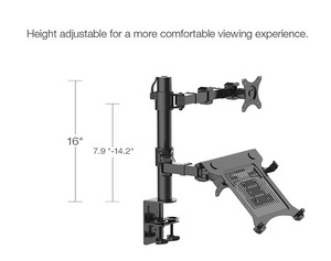 "Image 5 - Loctek D1F2 Full Motion Desktop 10"" 16"" Laptop Mount+10"" 27"" Monitor Holder Mount LCD Dual Arm Desk Stand Max Support 10kg Each"