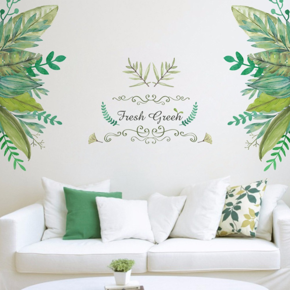 % Creative new PVC green leafy grass wall stickers home decor for kids room living room Window bathroom art poster wallpaper