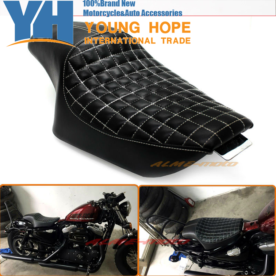 Motorcycle Black Driver Passenger Seat Two Up Seat For Harley Sportster Super Low XL883 XL1200 Iron 48 72 , Custom 2010-2016 motorcycle rear adjustable 1 2 3 lowering kit for harley sportster xl883 xl1200 2005 2013 hugger roadster low 48 72