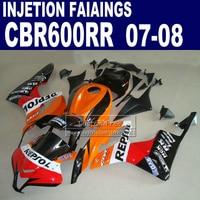 ABS Injection fairings kit for Honda 600 RR fairing 2007 2008 CBR 600RR CBR 600 RR 07 08 repsol motorcycle hulls kits&seat cowl