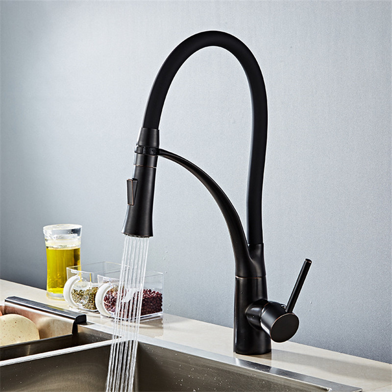 Buse de pulvérisation évier chaud et froid | Robinet d'évier de cuisine en laiton, tuyau en Silicone, robinet de grue d'eau noire à une poignée