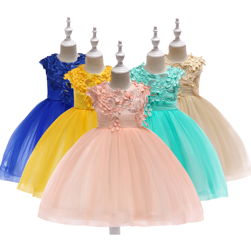 Baby Girl Princess Ball Gown Dress Flower Lace Children Bridemaid For Wedding Formal Party Prom Dresses Children Clothing 3-12 Y baby kids princess christmas dresses for girl party costume children s girl clothing formal teenagers prom gown size 2 13 years