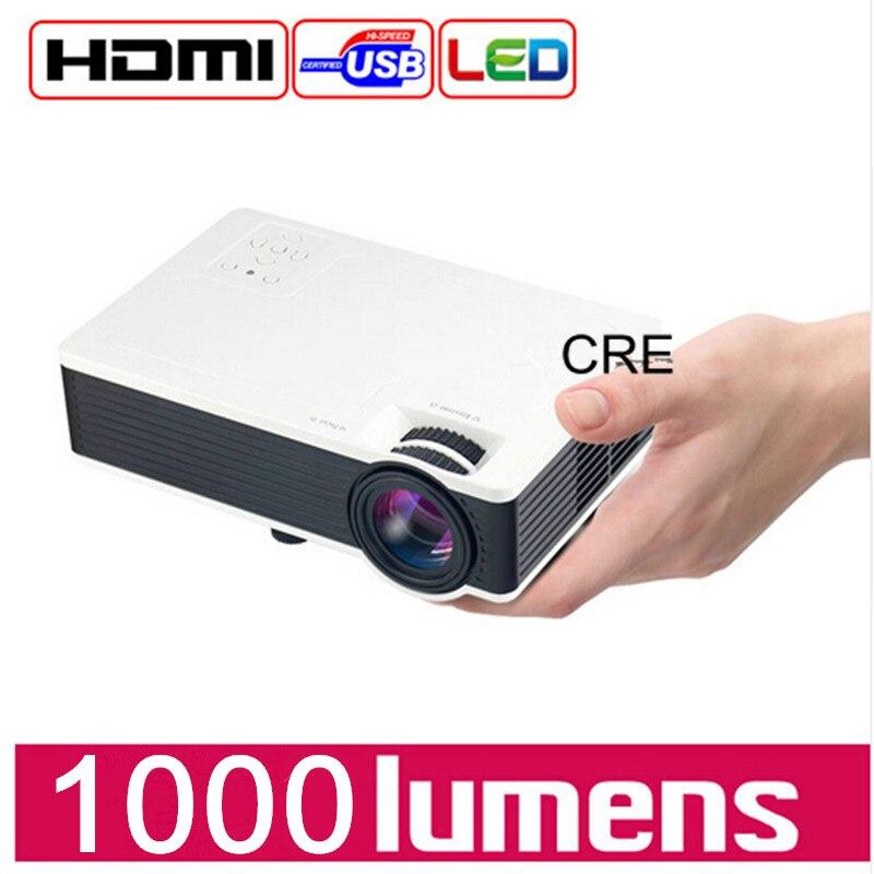 Mini Proyector CRE Proyector Led Tv 3D Proyector de Vídeo Full HD de Cine En Cas