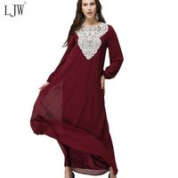 Plus Size L 7XL Muslim Women Long Sleeve Arab Dress Arab Robes Kaftan Malaysia Fashion Embroidery