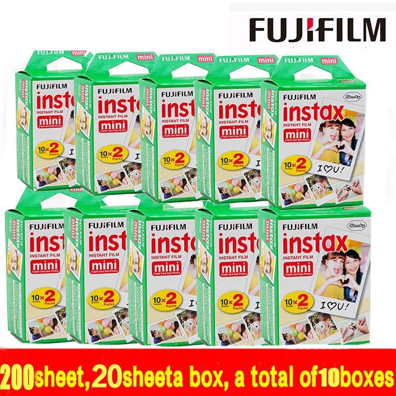 Nuevo 200 hojas envío libre Fuji Películas instax mini Películas borde blanco 200 unids para instax mini 7 S 8 25 50 90 SP1 Cámara hecho en Japón