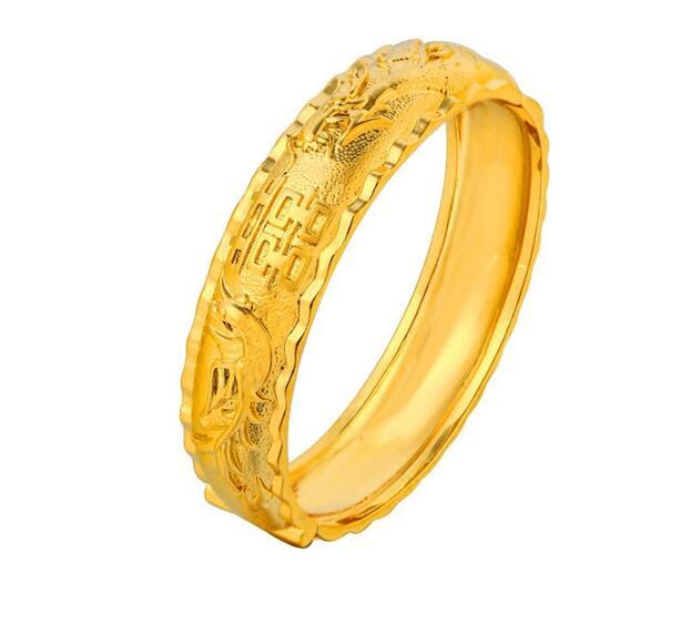 Chinese style wedding bracelet Elegant women's gold-plated dragon and phoenix auspicious patterns