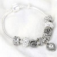 2019 Euro Charms logo Carving 925 bangle beauty bracelet women jewelry gifts,1pz