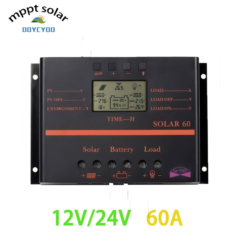OOYCYOO 60A Solar charge Controller LCD PV panel Battery Charge Controller 12V 24V Solar system Home