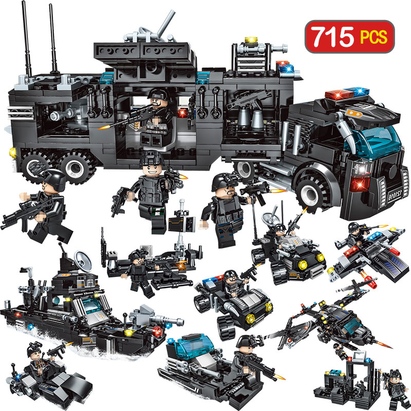 715pcs City Police Station Building Blocks Compatible LegoINGly City SWAT Team Truck Blocks Educational Toy For Boys Children715pcs City Police Station Building Blocks Compatible LegoINGly City SWAT Team Truck Blocks Educational Toy For Boys Children