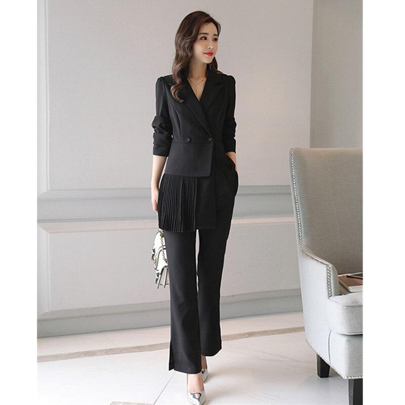 14.1 97,,Women\`s trousers suit women\`s double-breasted pleated suit two-piece suit (jacket + pants) women\`s business slim formal suit
