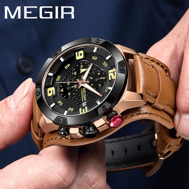 MEGIR Relógio Dos Homens Top Marca de Luxo De Ouro Pulseira de Couro Chronograph Data Relógio de Pulso Esporte Militar Relógio Masculino Relogio masculino 2099