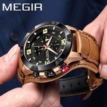 MEGIR ساعة رجالية ماركة فاخرة الذهب كرونوغراف ساعة اليد تاريخ الرياضة العسكرية حلقة من جلد الذكور ساعة Relogio Masculino 2099