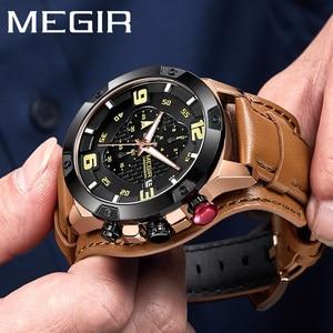 Image 1 - MEGIR ساعة رجالية ماركة فاخرة الذهب كرونوغراف ساعة اليد تاريخ الرياضة العسكرية حلقة من جلد الذكور ساعة Relogio Masculino 2099