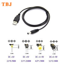 120CM 3.9FT USB Port To 2.5mm - 5.5mm 5V DC Barrel Jack Power Cable Connector Black For LED / electronic goods(China)