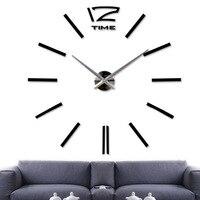 DIY Большие Настенные Часы 3D Наклейки Большой Часы Главная Комната Декор Уникальный Подарок Черный