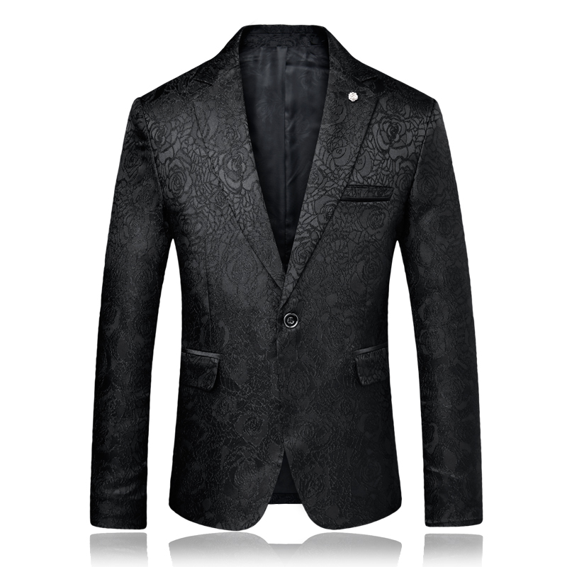 Solid Black Blue Mens Rose Printed Blazer Fashion Male Clothing Nightclub Party Stage Costumes For Singers Slim Fit Coat