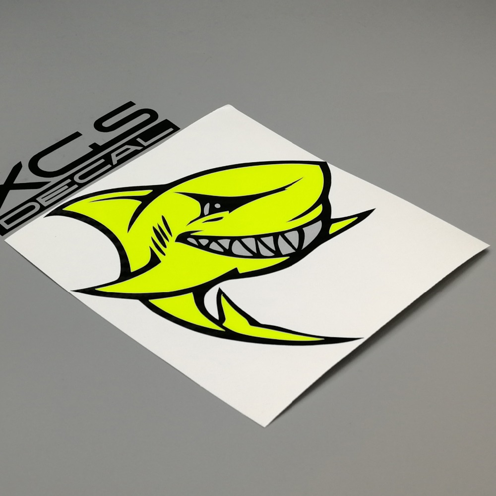 XGS DECAL Car Auto Styling stickers neon fluorescent yellow aggressive shark multi colors outdoor waterproof decals