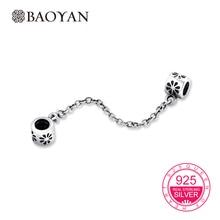 Baoyan 100% Geniune 925 Sterling Silver Daisy Cadena para Las Mujeres Pulseras para Los Encantos Europeos de Seguridad N1