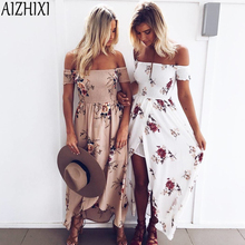 AIZHIXI Boho Bohemian Sexy Off Shoulder Beach Summer Dress 2017 Women Vintage Chifon Maxi Long Dress Holiday Party Vestidos