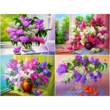 Diamond Embroidery Full Display Flower Lilac Round Diamond Painting Flower Pictures Of Rhinestones Handmade Gift a1364(China)