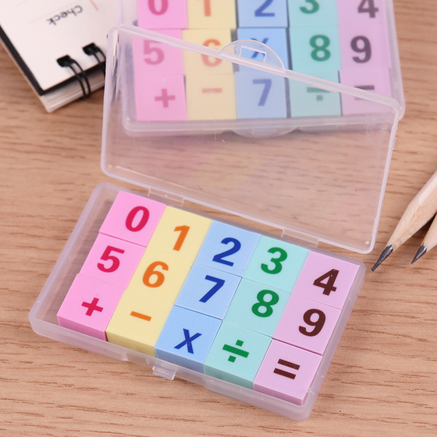 15PCS/box Kawaii Stationery Number Pencil Rubber Eraser Student Kids Prize Writing Drawing Student Gift
