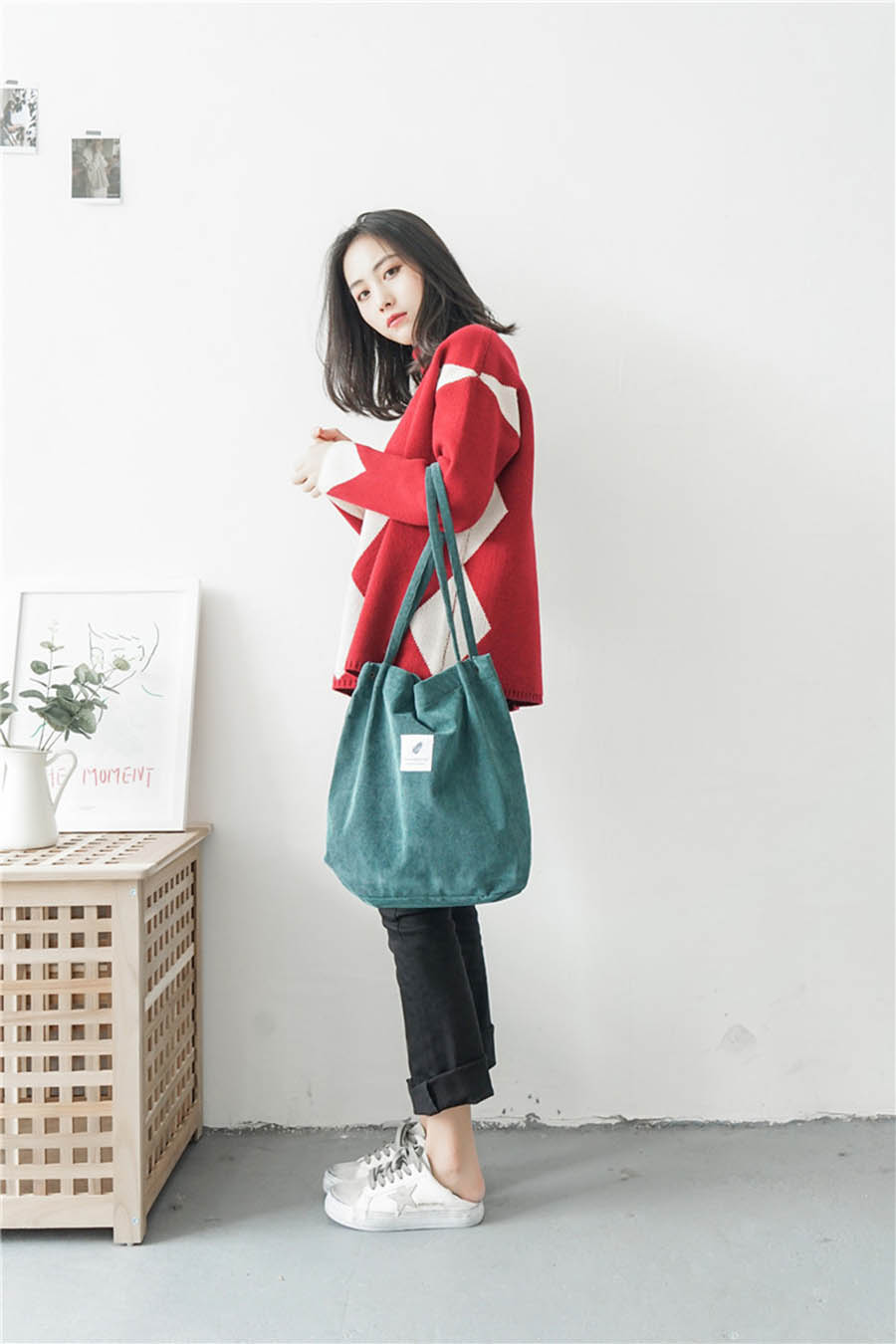 Mara's Dream High Capacity Women Corduroy Tote Ladies Casual Solid Color Shoulder Bag Foldable Reusable Women Shopping Beach Bag 21