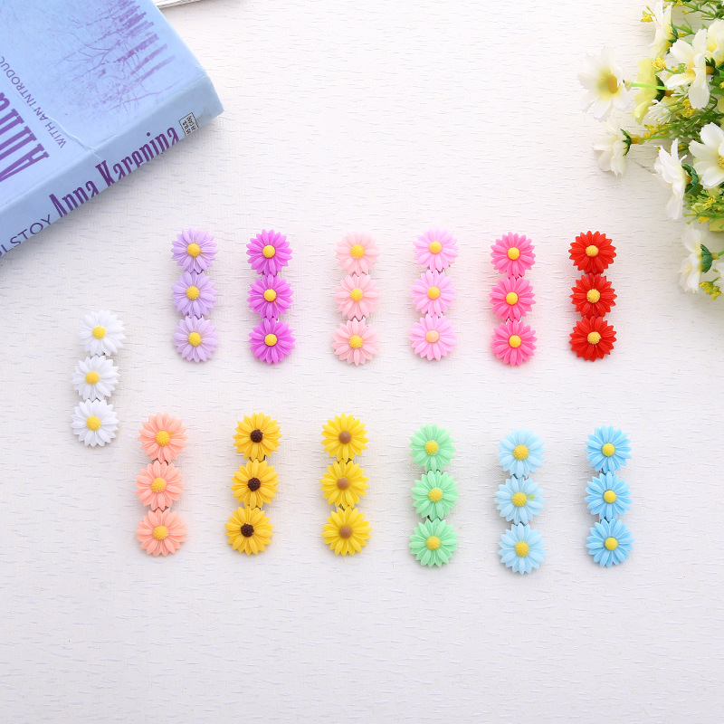 10PCS Cute Cartoon Daisy Acrylic Hair Clips Girls Hairpins BB Clips Barrettes Headbands For Womens Hairgrips Hair Accessories