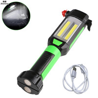 New LED Flashlight Multifunction USB Charging Magnetic COB Work Light Maintenance Lamp Overhaul Safety Hammer Lamp Hand Torch