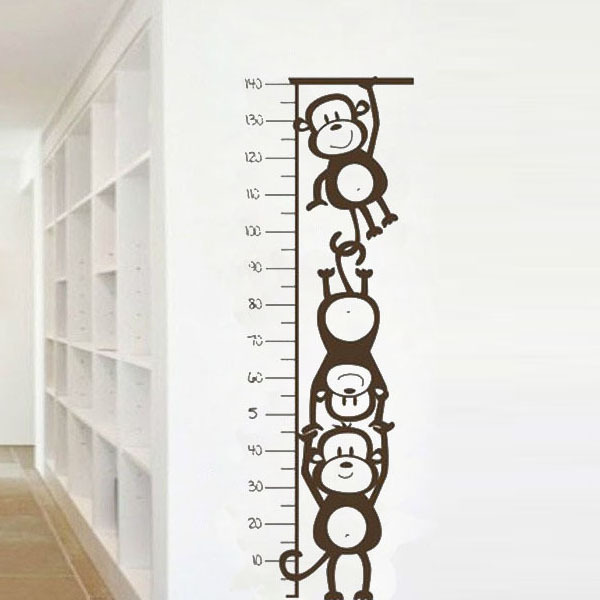 Monkey children height sticker quote kids growth chart height measure kids rooms quote diy home decorati family vinyl decals in wall stickers from home