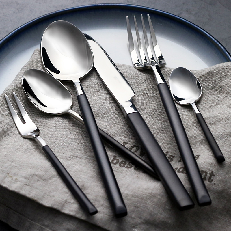 24pcs Western Royal Black Cutlery Set 18/10 Stainless Steel - Kitchen, Dining and Bar