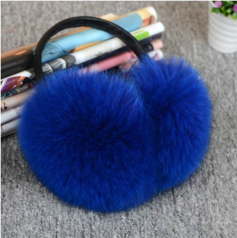 Real Fox Fur Winter Earmuffs Ladies Warm Natural Raccoon Earmuffs Plush With Headphones Girls Warm Ear Warmer Earmuffs Fur