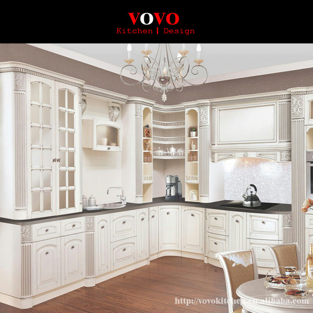 Russia Modular Kitchen Designs With Curved Corner Cabinets In