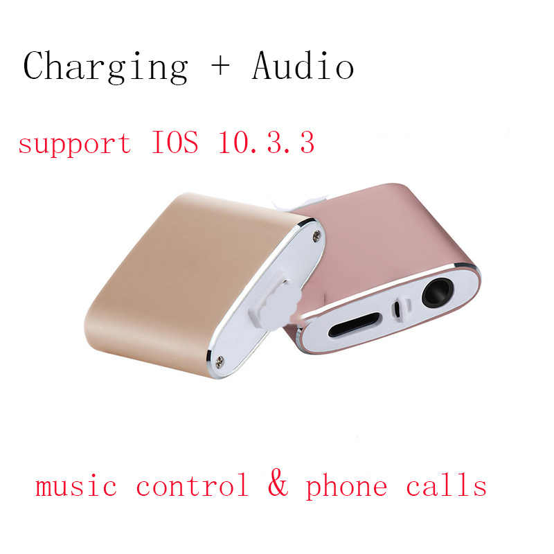 new style 477bb 81790 For iphone 8 adapter charging and 3.5mm earphones Aux Jack Bluetooth  Call+Audio+Charge splitter for iPhone 7 Plus IOS 11