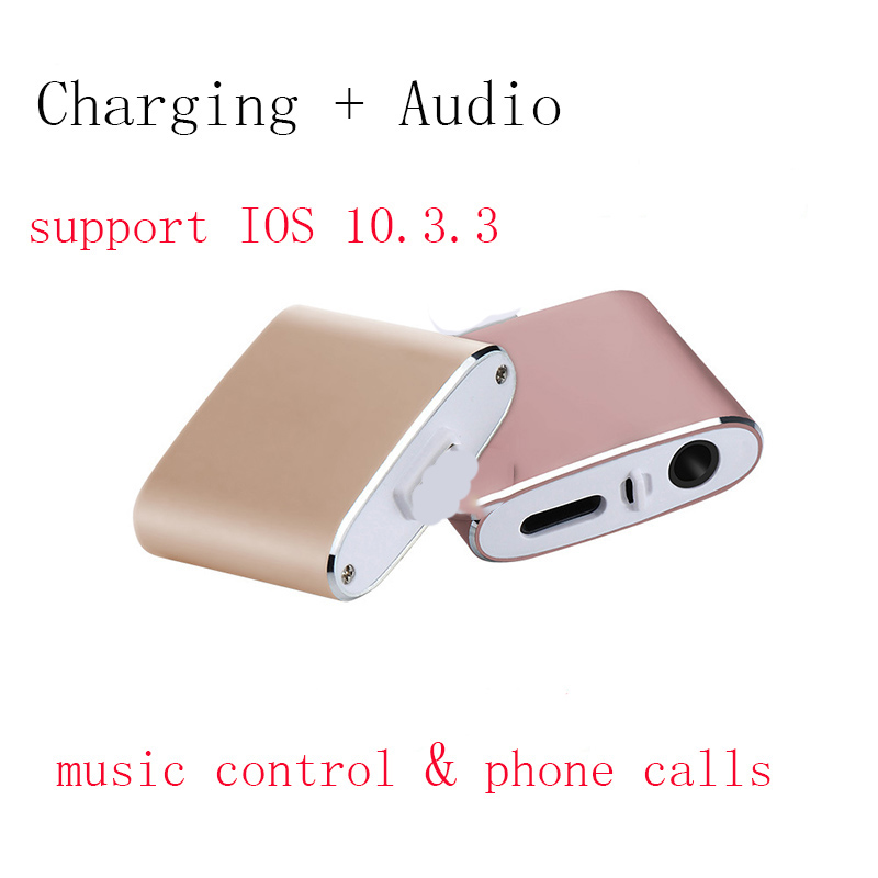 For iphone 8 adapter charging and 3.5mm earphones Aux Jack Bluetooth Call+Audio+Charge splitter for iPhone 7 Plus IOS 11