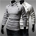 Solid Pullover Men Sweaters Turtleneck Long Sleeve Luxury Mens Wool Button Knitted Sweater Winter Christmas Jumper Clothes z20