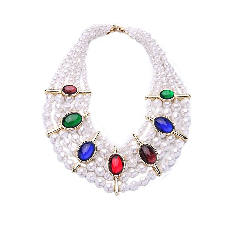 ce67435a489d Lujo personalizado moldeado fornido del partido declaración collar simulado  perla multicolor collar chokers