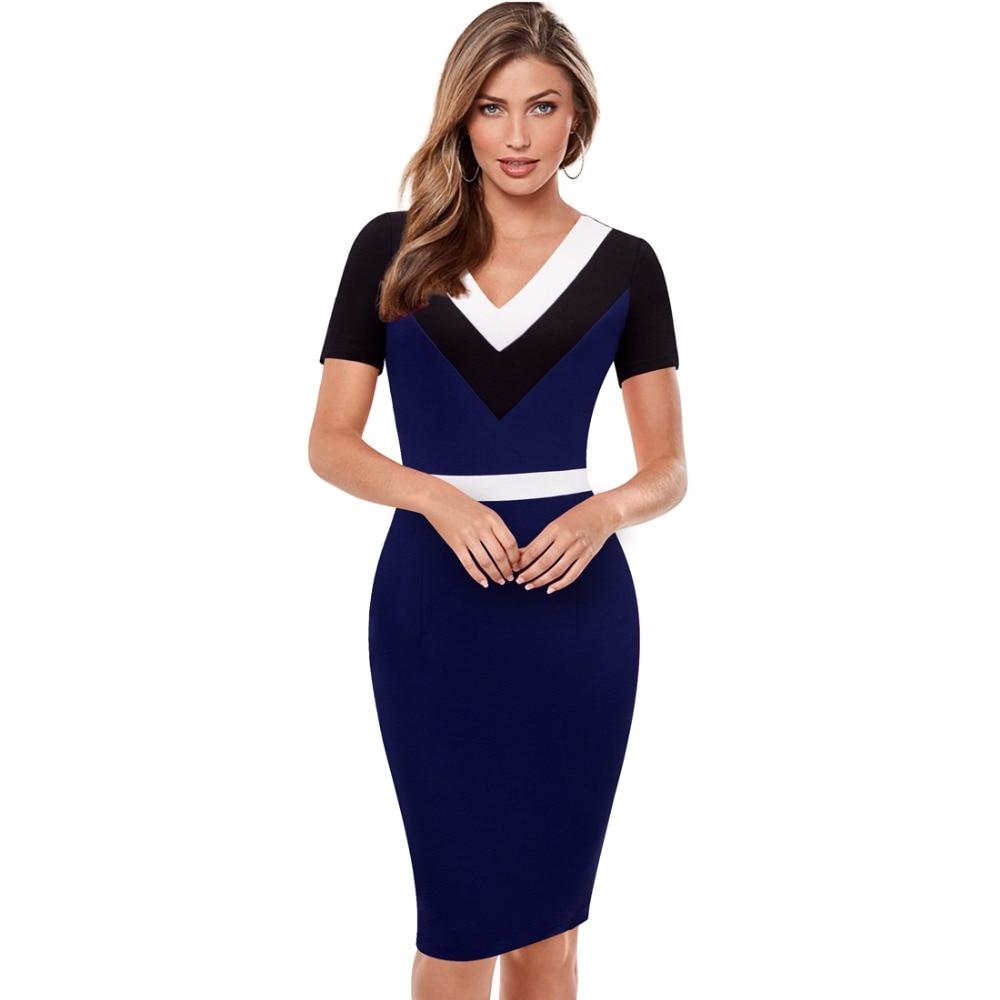 Summer Dress Women V Neck Short Sleeves Elegant Vintage Patchwork Office Business Casual Dark ...