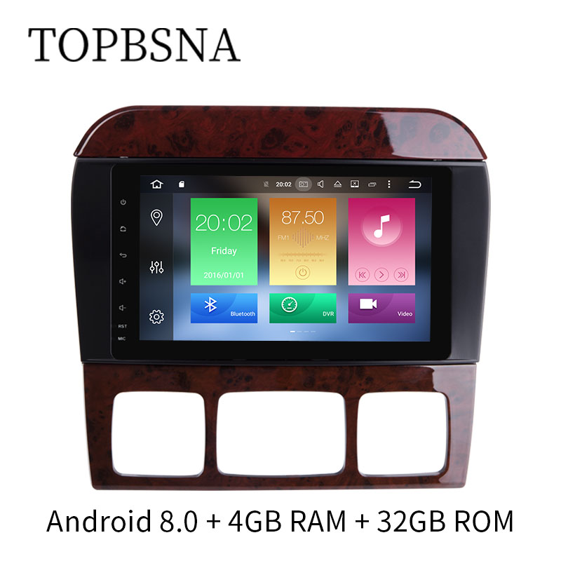 TOPBSNA Android 8.0 2 DIN Car DVD Player For Mercedes/Benz/S Class/S280/S320/S350/S400/S500/W220/W215/CL600 GPS Navigation TMPS