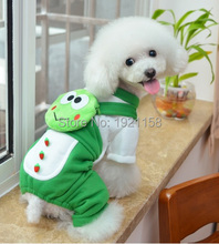 2016 Cute Pet Dog Warm Puppy Clothes Jumpsuit Hoodie Frog pattern Coat Apparel Puppy Clothes four legs