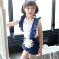 Hot sale New Girl's Summer Suspender Pants girl's Denim Jumpsuits With Flower Baby Overalls Loose Trousers