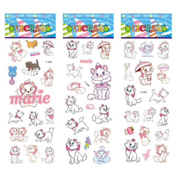 6 Sheets/set The Aristocats Pattern Bubble Stickers For Kids Decor On Notebook Marie Cat 3D Sticker Doodle Toy Stickers